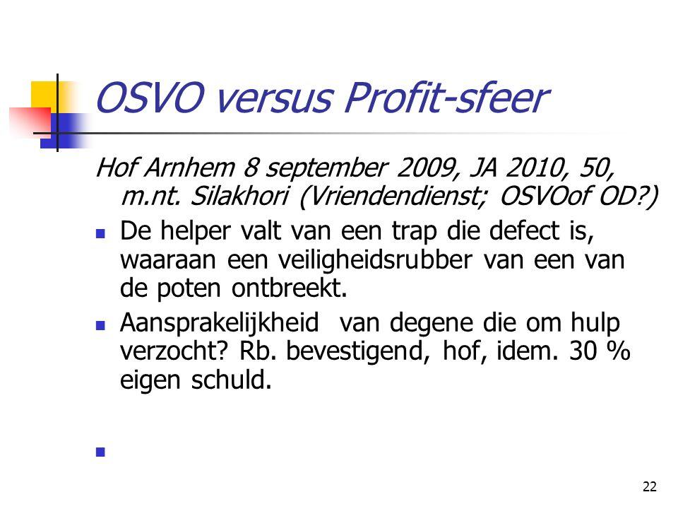 22 OSVO versus Profit-sfeer Hof Arnhem 8 september 2009, JA 2010, 50, m.nt. Silakhori(Vriendendienst; OSVOof OD?) De helper valt van een trap die defe
