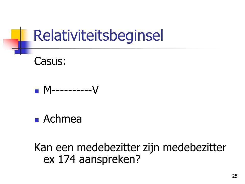 25 Relativiteitsbeginsel Casus: M----------V Achmea Kan een medebezitter zijn medebezitter ex 174 aanspreken?