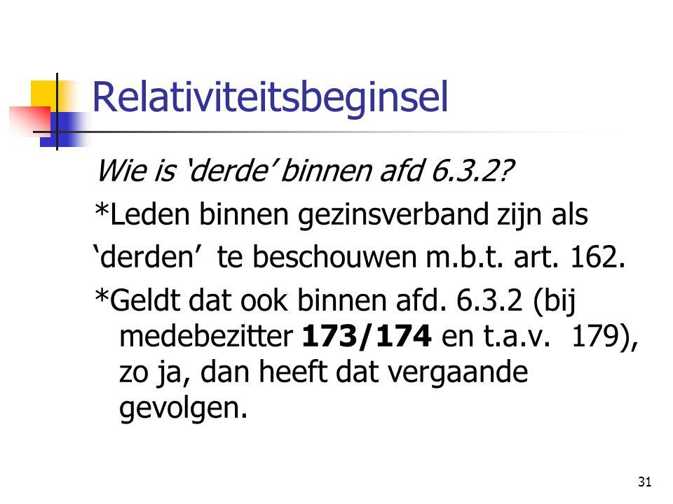 31 Relativiteitsbeginsel Wie is 'derde' binnen afd 6.3.2? *Leden binnen gezinsverband zijn als 'derden' te beschouwen m.b.t. art. 162. *Geldt dat ook