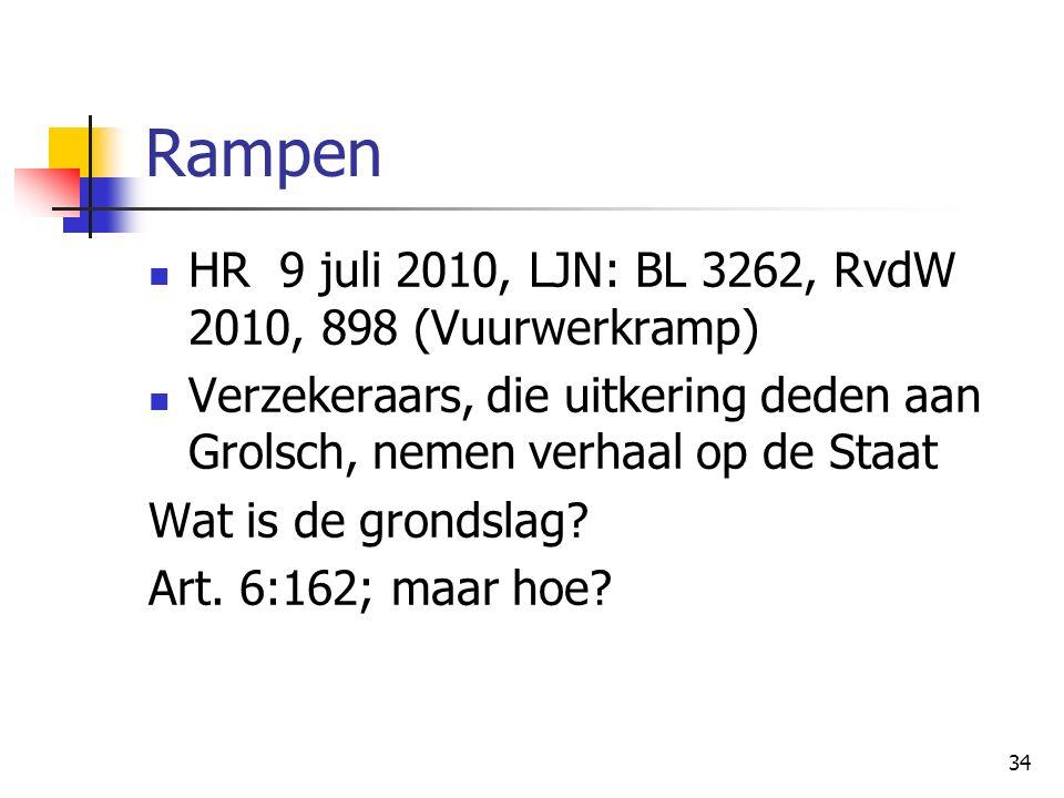 34 Rampen HR 9 juli 2010, LJN: BL 3262, RvdW 2010, 898 (Vuurwerkramp) Verzekeraars, die uitkering deden aan Grolsch, nemen verhaal op de Staat Wat is de grondslag.
