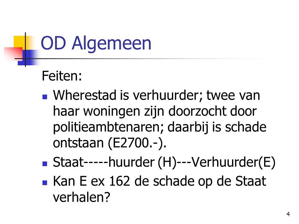 4 OD Algemeen Feiten: Wherestad is verhuurder; twee van haar woningen zijn doorzocht door politieambtenaren; daarbij is schade ontstaan (E2700.-).