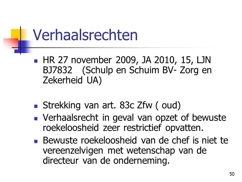 50 Verhaalsrechten HR 27 november 2009, JA 2010, 15, LJN BJ7832(Schulp en Schuim BV- Zorg en Zekerheid UA) Strekking van art. 83c Zfw ( oud) Verhaalsr