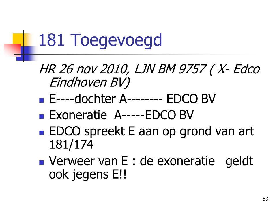 53 181 Toegevoegd HR 26 nov 2010, LJN BM 9757 ( X- Edco Eindhoven BV) E----dochter A-------- EDCO BV Exoneratie A-----EDCO BV EDCO spreekt E aan op grond van art 181/174 Verweer van E : de exoneratie geldt ook jegens E!!