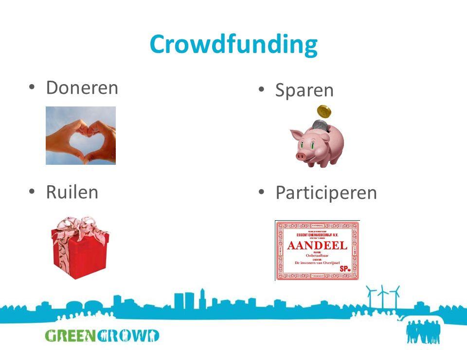 Crowdfunding Doneren Ruilen Sparen Participeren