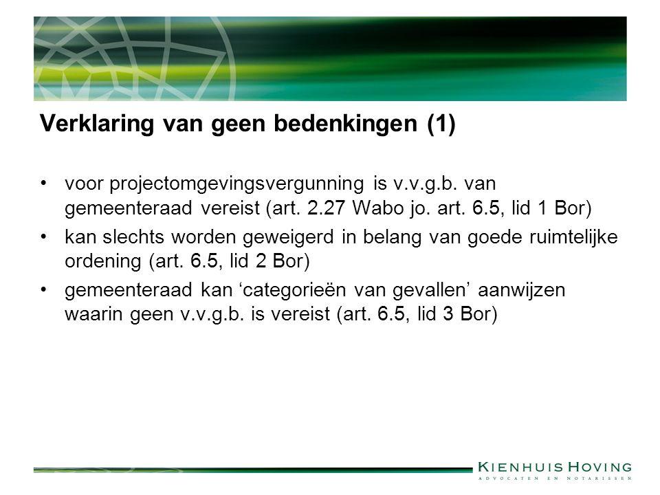 Verklaring van geen bedenkingen (1) voor projectomgevingsvergunning is v.v.g.b.