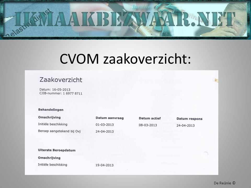 CVOM zaakoverzicht: De Reünie ©