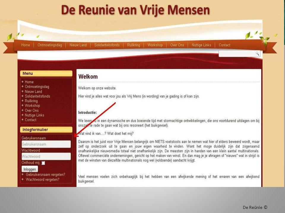 Inlogscherm van www.dereunie.infowww.dereunie.info De Reünie ©