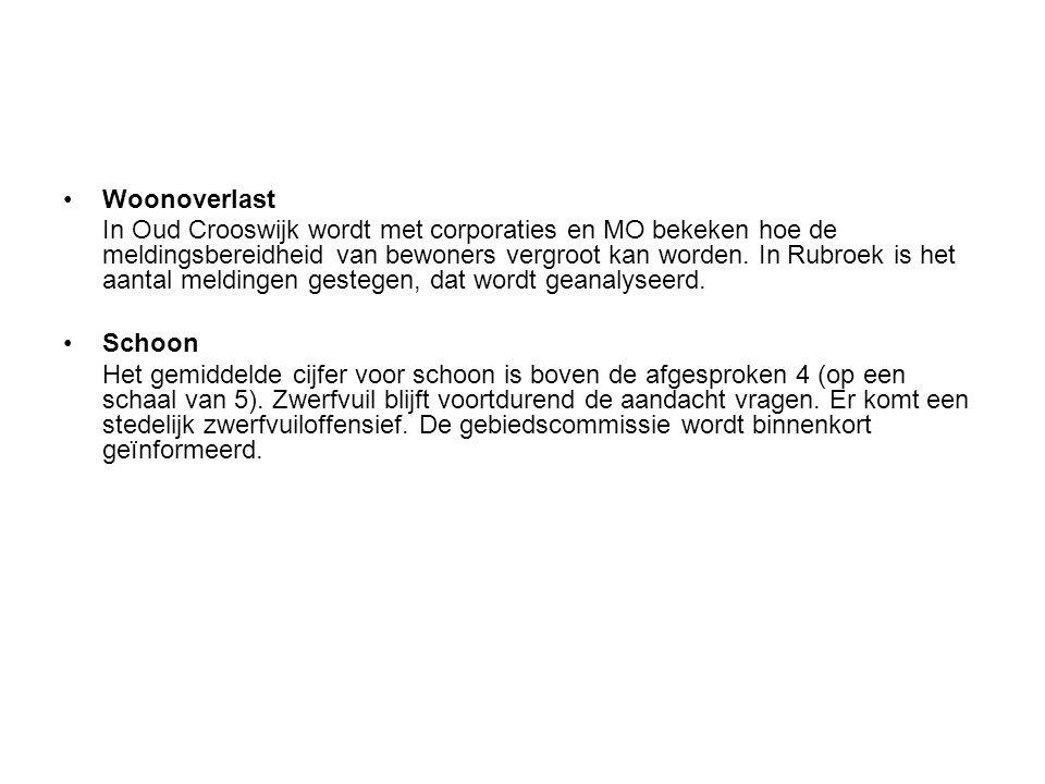 Woonoverlast In Oud Crooswijk wordt met corporaties en MO bekeken hoe de meldingsbereidheid van bewoners vergroot kan worden. In Rubroek is het aantal