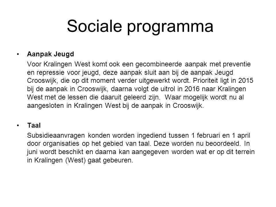 Sociale programma Aanpak Jeugd Voor Kralingen West komt ook een gecombineerde aanpak met preventie en repressie voor jeugd, deze aanpak sluit aan bij de aanpak Jeugd Crooswijk, die op dit moment verder uitgewerkt wordt.
