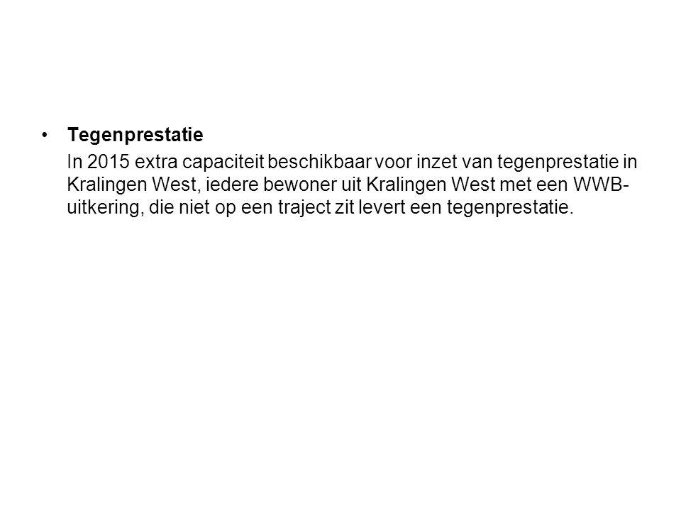 Tegenprestatie In 2015 extra capaciteit beschikbaar voor inzet van tegenprestatie in Kralingen West, iedere bewoner uit Kralingen West met een WWB- uitkering, die niet op een traject zit levert een tegenprestatie.