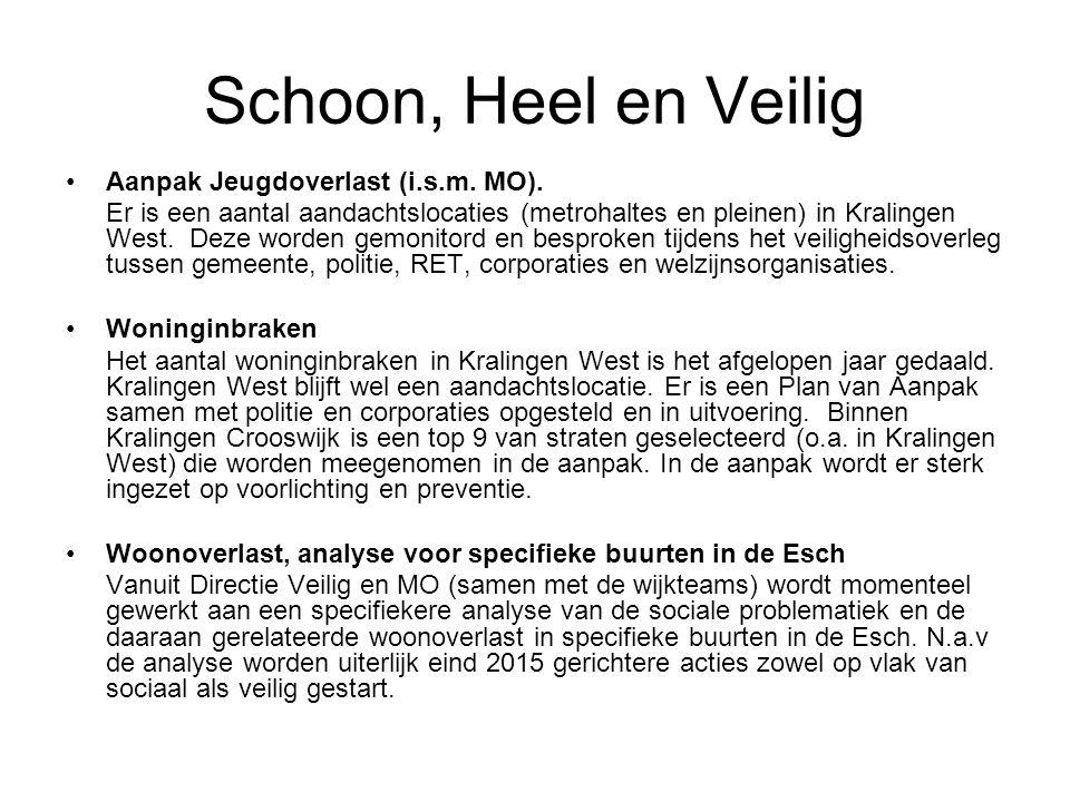 Schoon, Heel en Veilig Aanpak Jeugdoverlast (i.s.m. MO). Er is een aantal aandachtslocaties (metrohaltes en pleinen) in Kralingen West. Deze worden ge