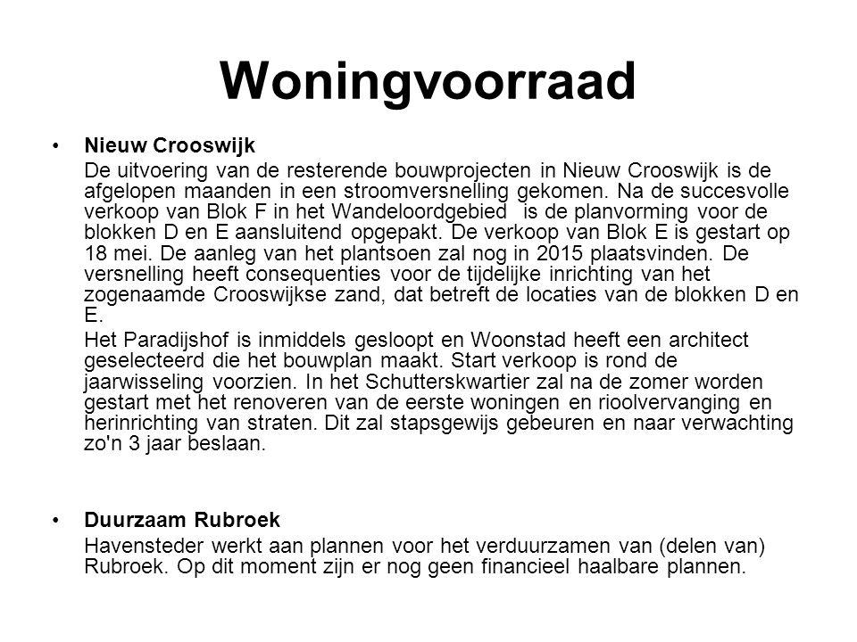 Woningvoorraad Nieuw Crooswijk De uitvoering van de resterende bouwprojecten in Nieuw Crooswijk is de afgelopen maanden in een stroomversnelling gekom