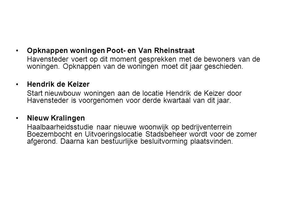 Opknappen woningen Poot- en Van Rheinstraat Havensteder voert op dit moment gesprekken met de bewoners van de woningen. Opknappen van de woningen moet