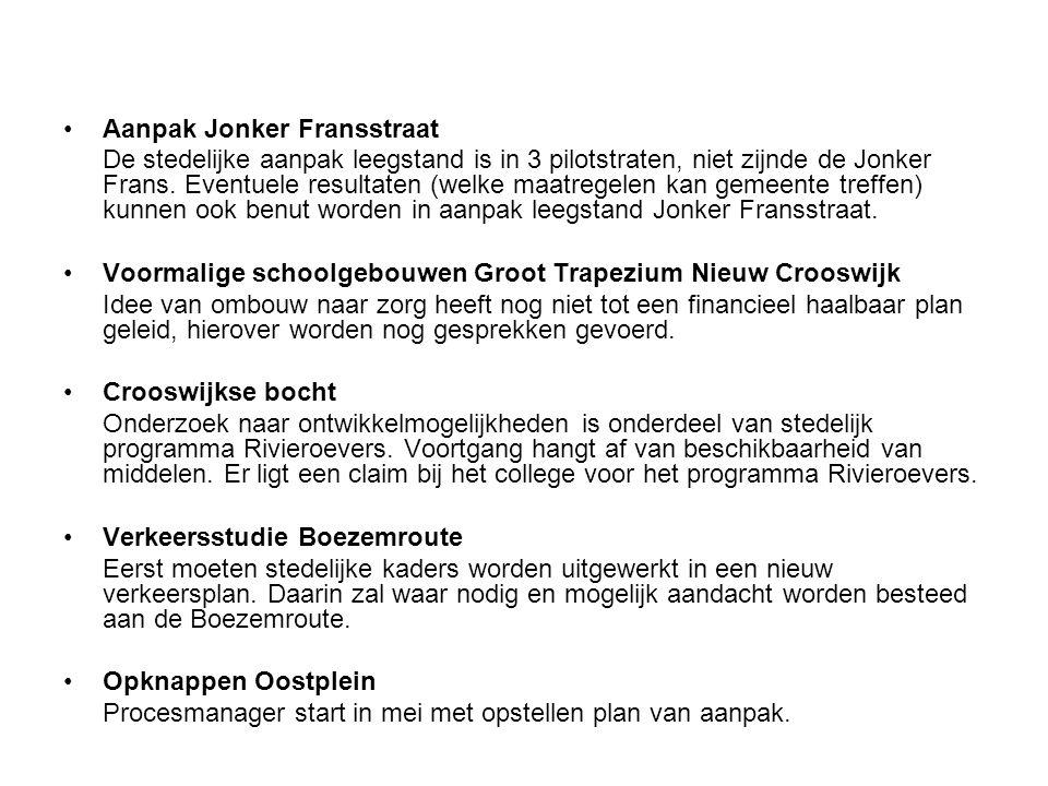 Aanpak Jonker Fransstraat De stedelijke aanpak leegstand is in 3 pilotstraten, niet zijnde de Jonker Frans. Eventuele resultaten (welke maatregelen ka
