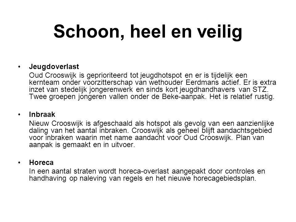 Schoon, heel en veilig Jeugdoverlast Oud Crooswijk is geprioriteerd tot jeugdhotspot en er is tijdelijk een kernteam onder voorzitterschap van wethouder Eerdmans actief.