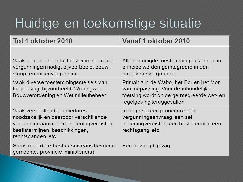 Tot 1 oktober 2010Vanaf 1 oktober 2010 Vaak een groot aantal toestemmingen c.q.
