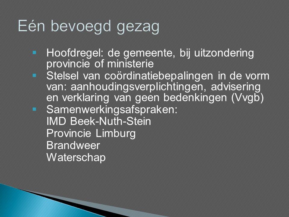 Hoofdregel: de gemeente, bij uitzondering provincie of ministerie  Stelsel van coördinatiebepalingen in de vorm van: aanhoudingsverplichtingen, advisering en verklaring van geen bedenkingen (Vvgb)  Samenwerkingsafspraken: IMD Beek-Nuth-Stein Provincie Limburg Brandweer Waterschap