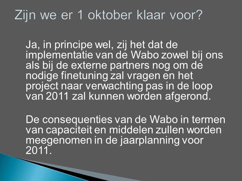 Ja, in principe wel, zij het dat de implementatie van de Wabo zowel bij ons als bij de externe partners nog om de nodige finetuning zal vragen en het project naar verwachting pas in de loop van 2011 zal kunnen worden afgerond.