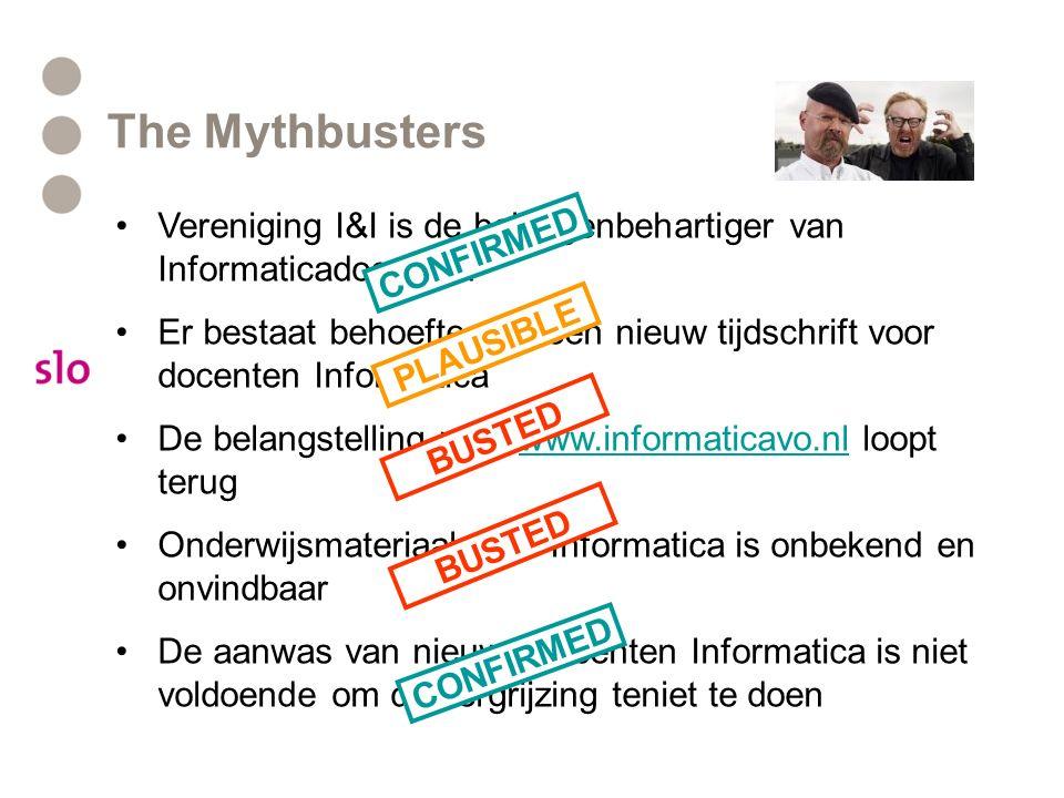 The Mythbusters Vereniging I&I is de belangenbehartiger van Informaticadocenten Er bestaat behoefte aan een nieuw tijdschrift voor docenten Informatic