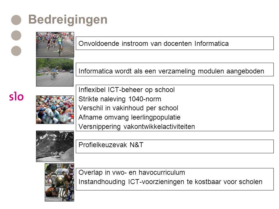 Bedreigingen Onvoldoende instroom van docenten Informatica Informatica wordt als een verzameling modulen aangeboden Inflexibel ICT-beheer op school St