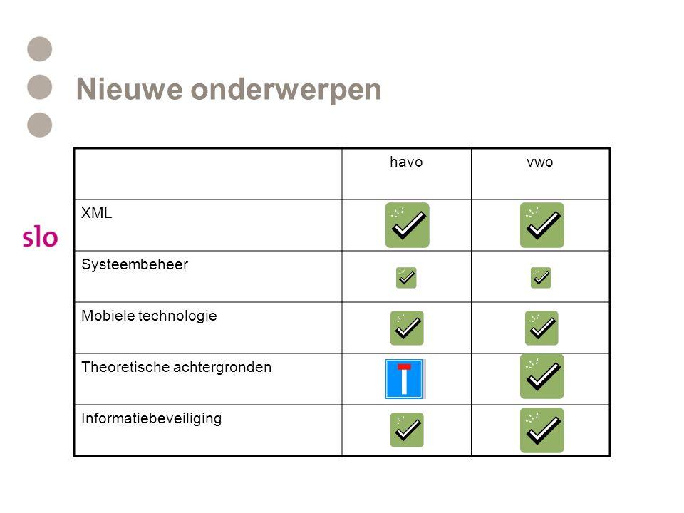 Nieuwe onderwerpen havovwo XML Systeembeheer Mobiele technologie Theoretische achtergronden Informatiebeveiliging