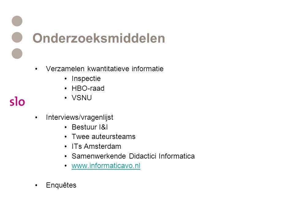 Onderzoeksmiddelen Verzamelen kwantitatieve informatie Inspectie HBO-raad VSNU Interviews/vragenlijst Bestuur I&I Twee auteursteams ITs Amsterdam Same