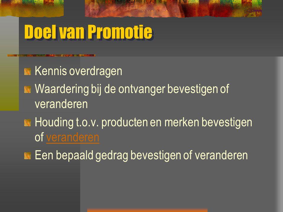 Doel van Promotie Kennis overdragen Waardering bij de ontvanger bevestigen of veranderen Houding t.o.v. producten en merken bevestigen of veranderenve