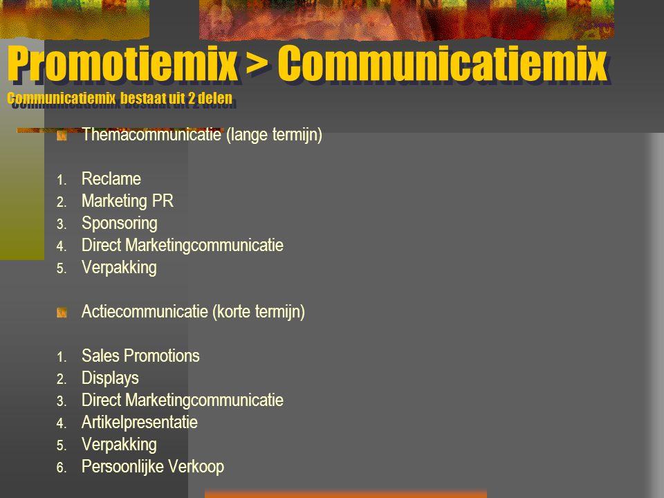 Promotiemix > Communicatiemix Communicatiemix bestaat uit 2 delen Themacommunicatie (lange termijn) 1. Reclame 2. Marketing PR 3. Sponsoring 4. Direct