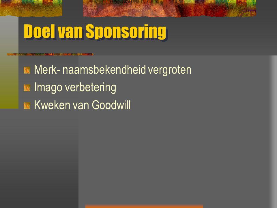 Doel van Sponsoring Merk- naamsbekendheid vergroten Imago verbetering Kweken van Goodwill