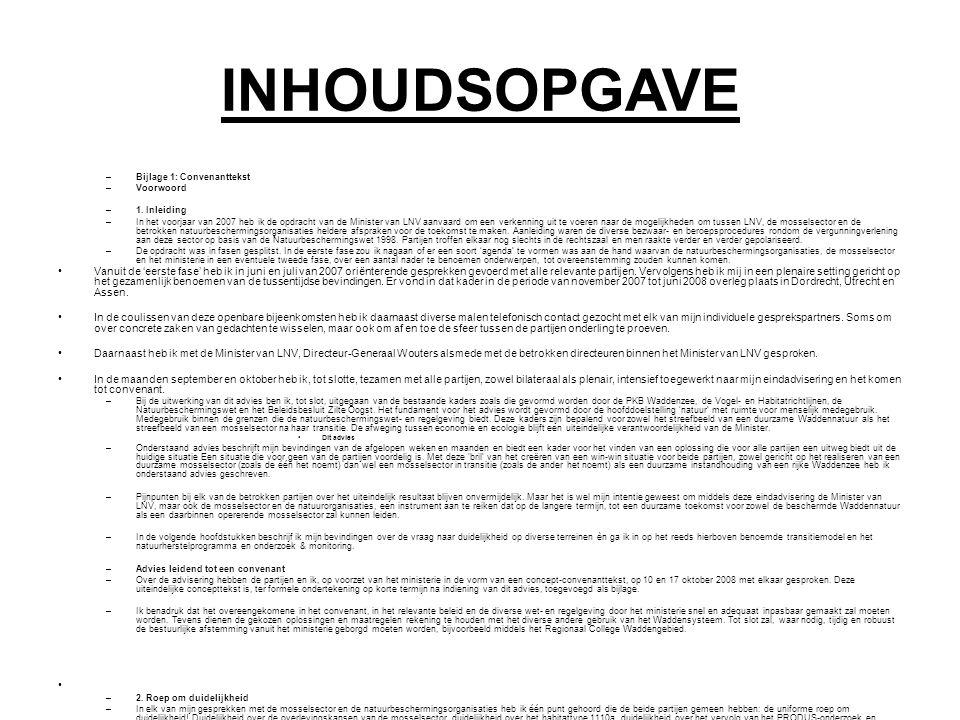 INHOUDSOPGAVE –Bijlage 1: Convenanttekst –Voorwoord –1.