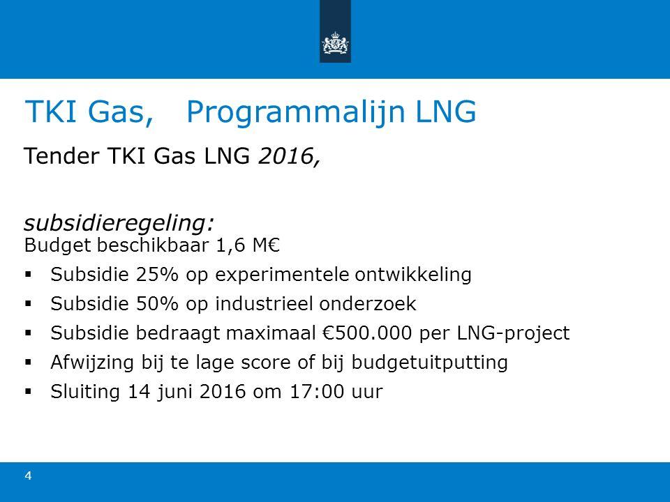 TKI Gas, Programmalijn LNG Tender TKI Gas LNG 2016, subsidieregeling: Budget beschikbaar 1,6 M€  Subsidie 25% op experimentele ontwikkeling  Subsidie 50% op industrieel onderzoek  Subsidie bedraagt maximaal €500.000 per LNG-project  Afwijzing bij te lage score of bij budgetuitputting  Sluiting 14 juni 2016 om 17:00 uur 4
