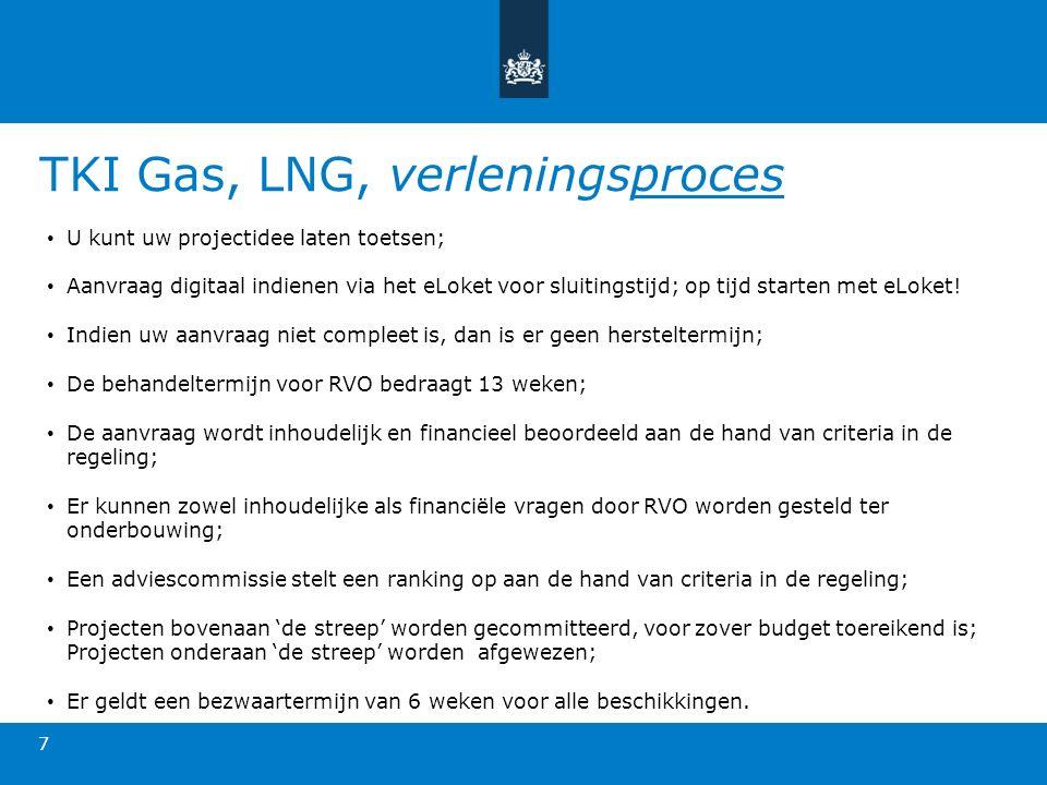 TKI Gas, LNG, verleningsproces 7 U kunt uw projectidee laten toetsen; Aanvraag digitaal indienen via het eLoket voor sluitingstijd; op tijd starten met eLoket.