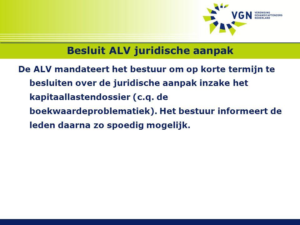 Besluit ALV juridische aanpak De ALV mandateert het bestuur om op korte termijn te besluiten over de juridische aanpak inzake het kapitaallastendossier (c.q.