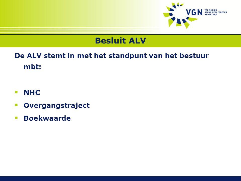 Besluit ALV De ALV stemt in met het standpunt van het bestuur mbt:  NHC  Overgangstraject  Boekwaarde