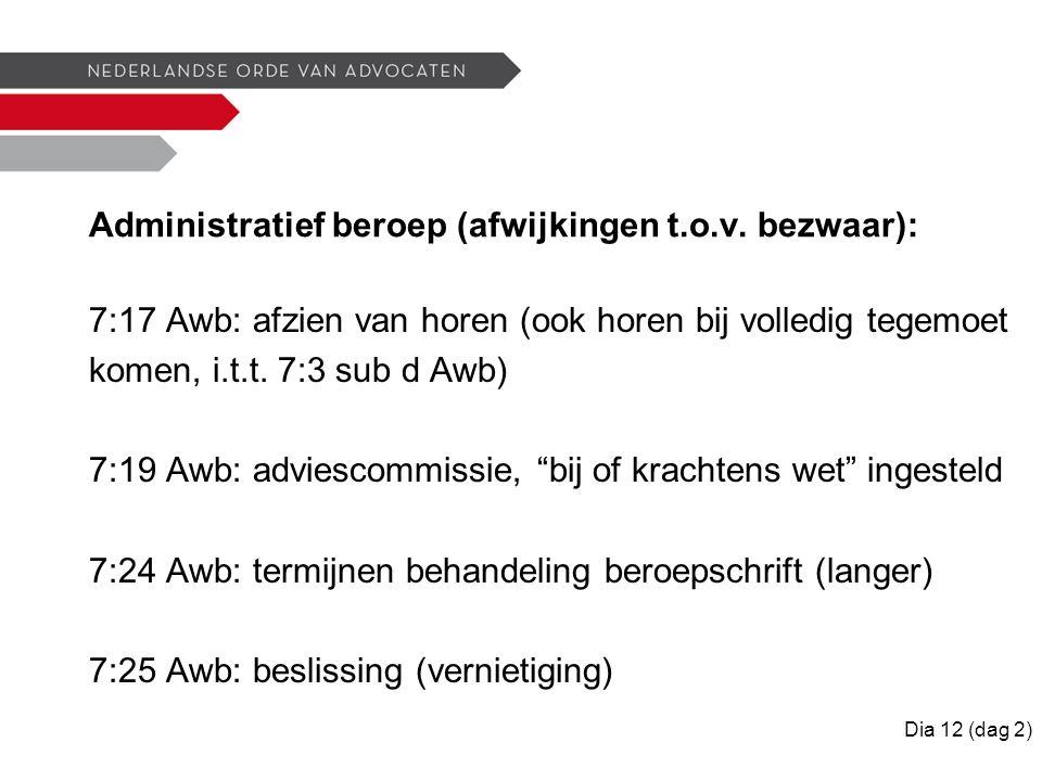 Administratief beroep (afwijkingen t.o.v.