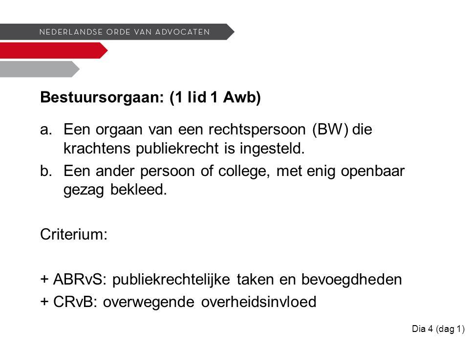 Bestuursorgaan: (1 lid 1 Awb) a.Een orgaan van een rechtspersoon (BW) die krachtens publiekrecht is ingesteld.