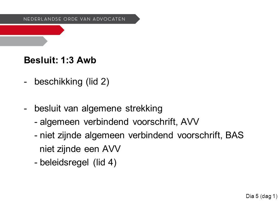 Besluit: 1:3 Awb -beschikking (lid 2) -besluit van algemene strekking - algemeen verbindend voorschrift, AVV - niet zijnde algemeen verbindend voorschrift, BAS niet zijnde een AVV - beleidsregel (lid 4) Dia 5 (dag 1)