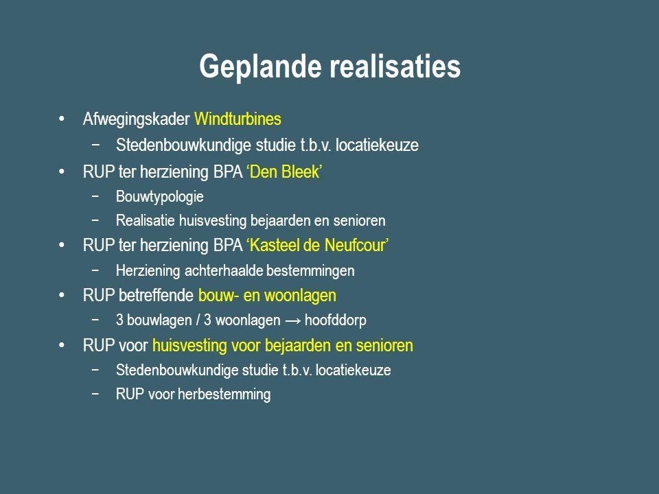 Geplande realisaties Afwegingskader Windturbines −Stedenbouwkundige studie t.b.v. locatiekeuze RUP ter herziening BPA 'Den Bleek' −Bouwtypologie −Real