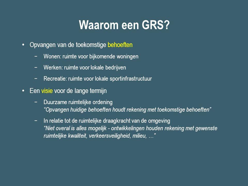 Waarom een GRS? Opvangen van de toekomstige behoeften −Wonen: ruimte voor bijkomende woningen −Werken: ruimte voor lokale bedrijven −Recreatie: ruimte