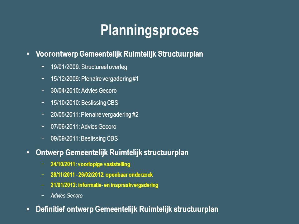 Planningsproces Voorontwerp Gemeentelijk Ruimtelijk Structuurplan −19/01/2009: Structureel overleg −15/12/2009: Plenaire vergadering #1 −30/04/2010: A