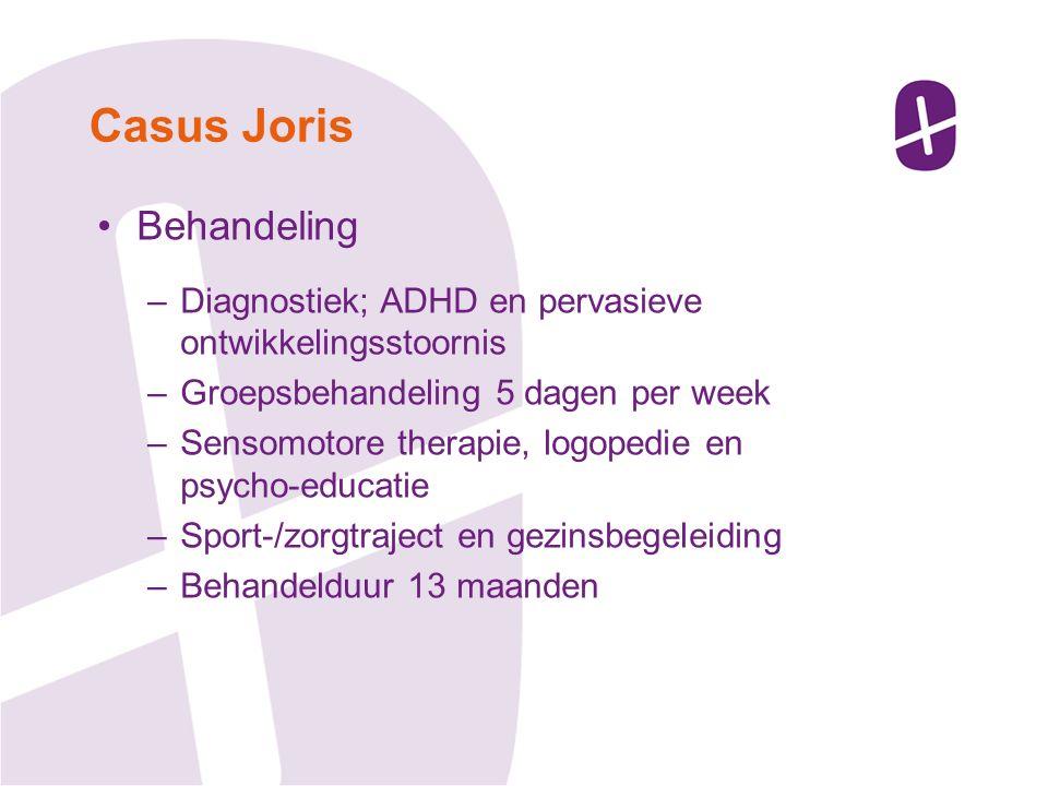 Behandeling –Diagnostiek; ADHD en pervasieve ontwikkelingsstoornis –Groepsbehandeling 5 dagen per week –Sensomotore therapie, logopedie en psycho-educatie –Sport-/zorgtraject en gezinsbegeleiding –Behandelduur 13 maanden Casus Joris