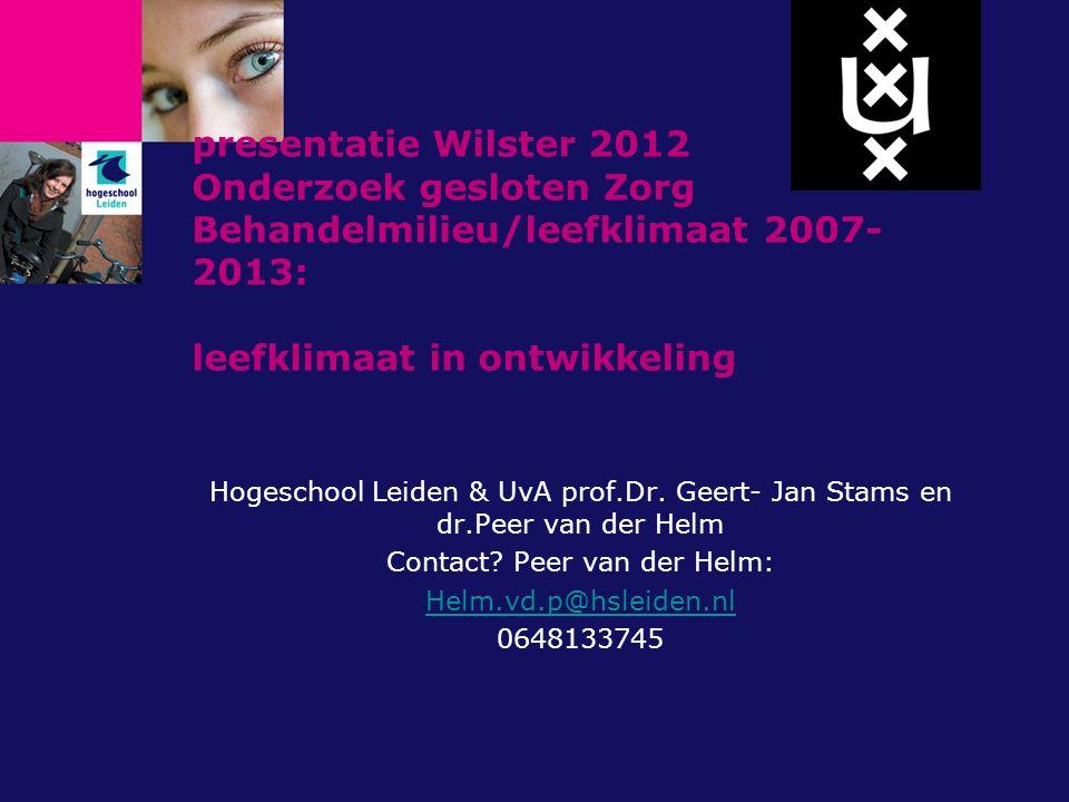 presentatie Wilster 2012 Onderzoek gesloten Zorg Behandelmilieu/leefklimaat 2007- 2013: leefklimaat in ontwikkeling Hogeschool Leiden & UvA prof.Dr.