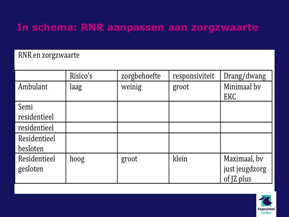 In schema: RNR aanpassen aan zorgzwaarte