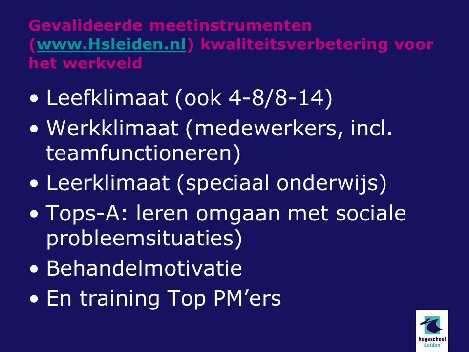 Gevalideerde meetinstrumenten (www.Hsleiden.nl) kwaliteitsverbetering voor het werkveldwww.Hsleiden.nl Leefklimaat (ook 4-8/8-14) Werkklimaat (medewerkers, incl.