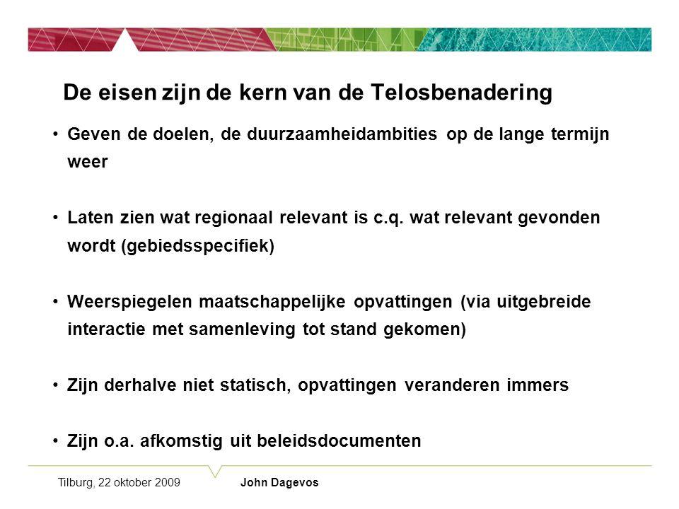 Tilburg, 22 oktober 2009 John Dagevos De eisen zijn de kern van de Telosbenadering Geven de doelen, de duurzaamheidambities op de lange termijn weer Laten zien wat regionaal relevant is c.q.