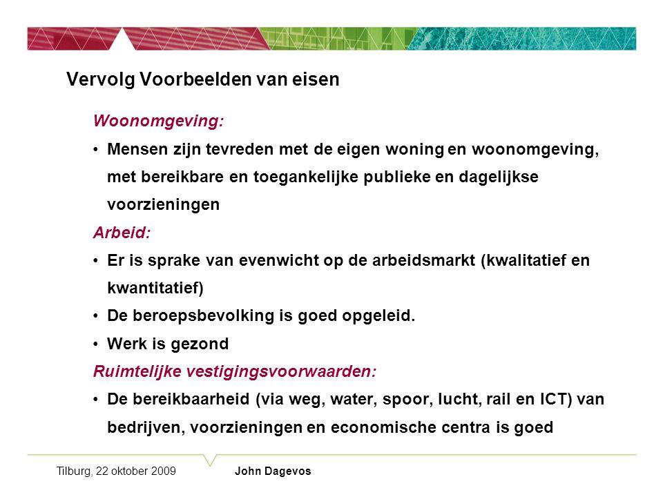 Tilburg, 22 oktober 2009 John Dagevos Vervolg Voorbeelden van eisen Woonomgeving: Mensen zijn tevreden met de eigen woning en woonomgeving, met bereikbare en toegankelijke publieke en dagelijkse voorzieningen Arbeid: Er is sprake van evenwicht op de arbeidsmarkt (kwalitatief en kwantitatief) De beroepsbevolking is goed opgeleid.