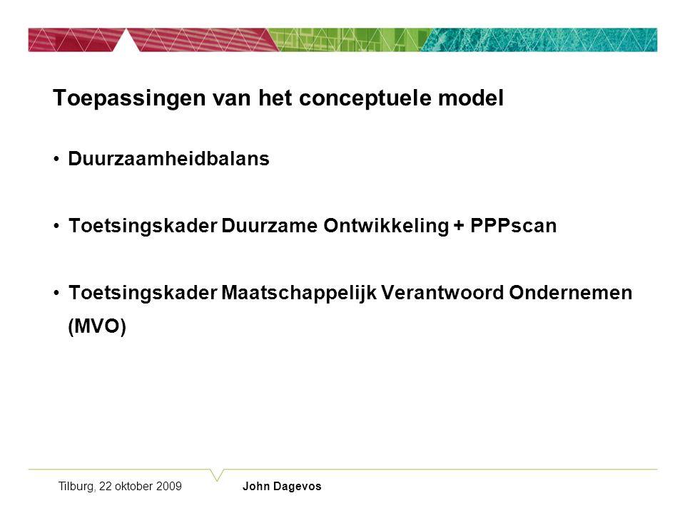Tilburg, 22 oktober 2009 John Dagevos Toepassingen van het conceptuele model Duurzaamheidbalans Toetsingskader Duurzame Ontwikkeling + PPPscan Toetsingskader Maatschappelijk Verantwoord Ondernemen (MVO)