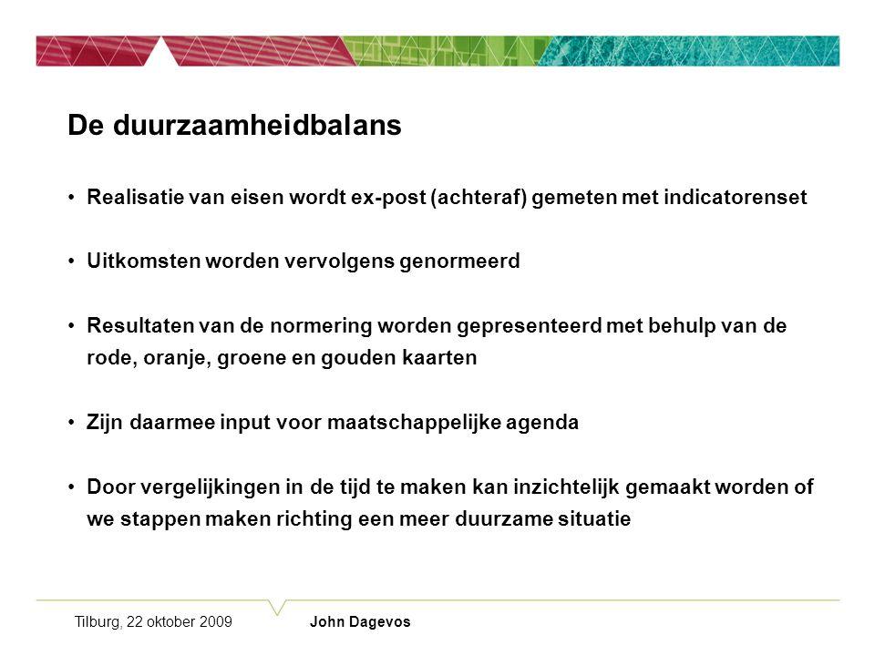 Tilburg, 22 oktober 2009 John Dagevos De duurzaamheidbalans Realisatie van eisen wordt ex-post (achteraf) gemeten met indicatorenset Uitkomsten worden vervolgens genormeerd Resultaten van de normering worden gepresenteerd met behulp van de rode, oranje, groene en gouden kaarten Zijn daarmee input voor maatschappelijke agenda Door vergelijkingen in de tijd te maken kan inzichtelijk gemaakt worden of we stappen maken richting een meer duurzame situatie