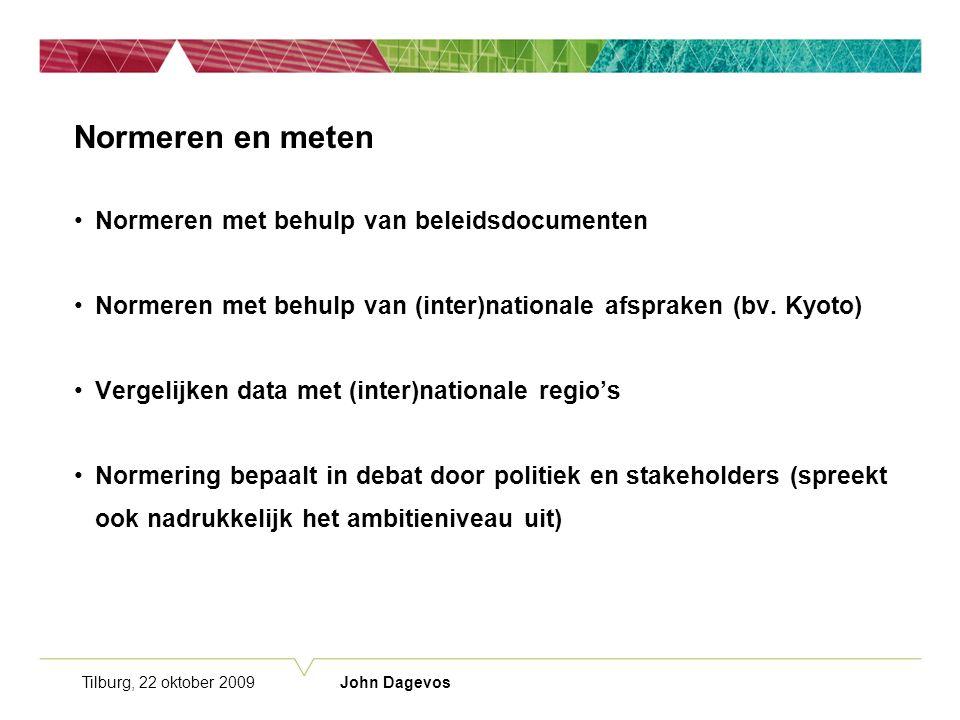 Tilburg, 22 oktober 2009 John Dagevos Normeren en meten Normeren met behulp van beleidsdocumenten Normeren met behulp van (inter)nationale afspraken (bv.