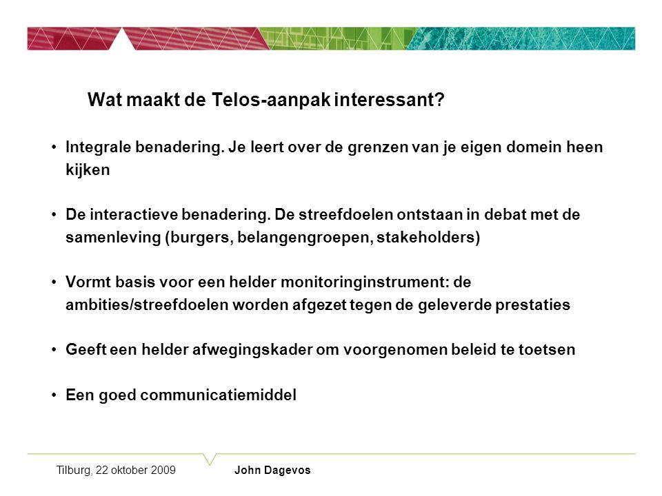Tilburg, 22 oktober 2009 John Dagevos Wat maakt de Telos-aanpak interessant.